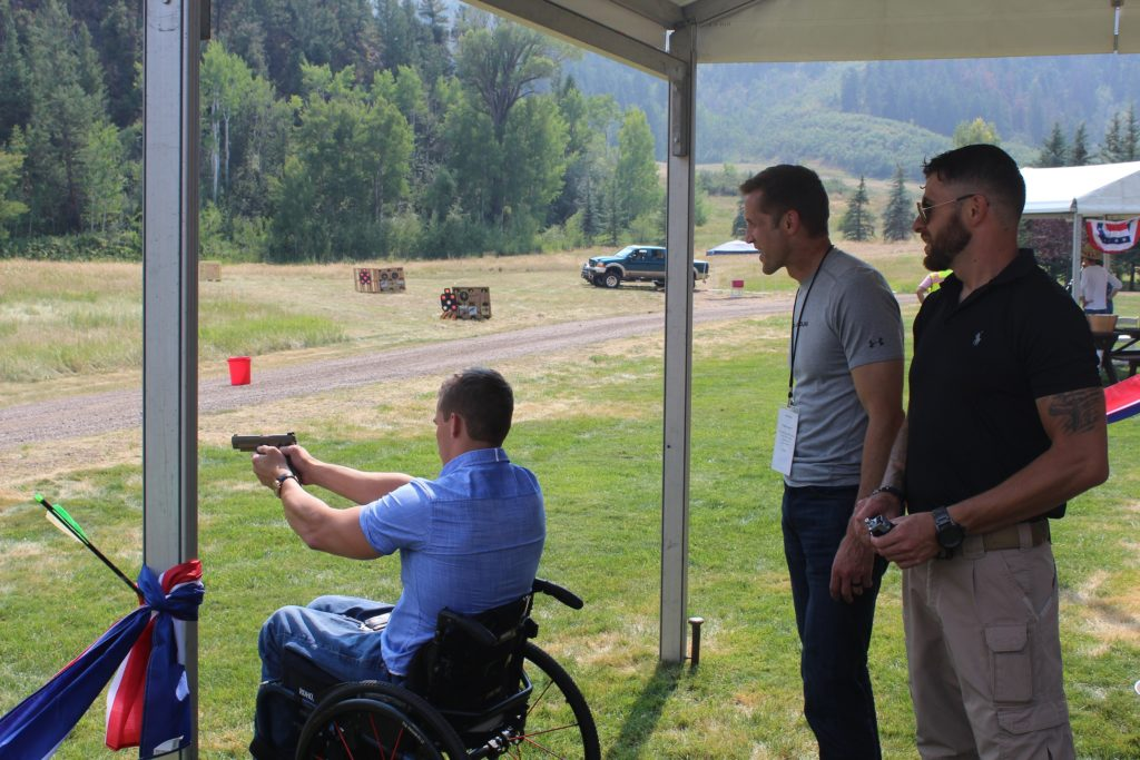 Air pistols at non-ballistic group shooting event