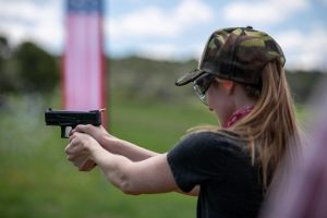 Pistol training and target shooting for women
