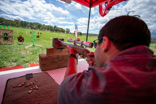 Rifle target shooting at private ranch event
