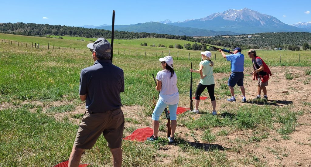 Shotgun lineup at the Carbondale Ranch with views of Sopris